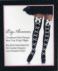 Stockings Crossbone <b>Print</b> Opaque Bow Top Thigh High <b>Gothic</b> ...