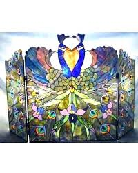 stain glass fire screen style stained glass fireplace screen patterns fire screens fir stained glass