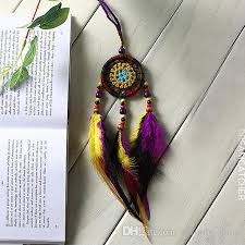Where To Put Dream Catcher New Ful Handmade Crochet Flower Dream Catcher With Feathers Bead Mini