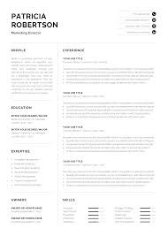 Professional 1 Page Resume Template Modern One Page Cv Word