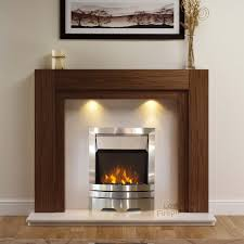 henley electric fireplace suite in american walnut with cream marble eko fire thumbnail