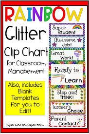 Rainbow Glitter Clip Chart Editable Version Included