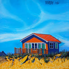 ditch plains beach bungalow in montauk painting by borbay