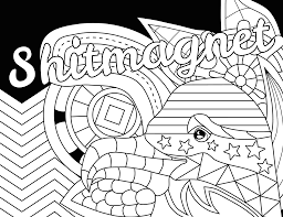 Shitmagnet Swear Word Coloring Page Adult
