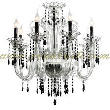 gocce murano chandelier 8 lights crystal black