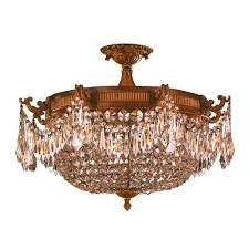 worldwide lighting winchester collection 4 light french gold and golden teak crystal semi flush mount