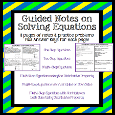 guided notes on solving equations 11pages of notes practice problems plus answer keys too