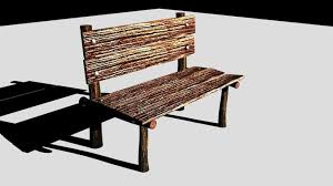 antique wooden bench. Antique Wooden Bench 3d Model Fbx 1