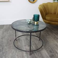 round metal blue glass topped coffee table
