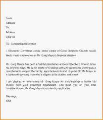 sample scholarship re mendation letter sample letter of re mendation for scholarship from pastor