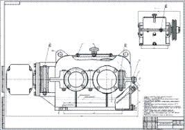 Курсовое проектирование деталей машин  чертежи деталей машин сборочный чертёж двухступенчатого коническо цилиндрического редуктора главный вид и вид