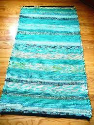 black white rag rug rugs cotton loom woven x rectangular handmade handwoven aqua teal turquoise and