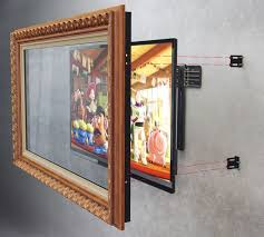 mirror excellent gold square contemporary glass and wooden tv in mirror in glued design