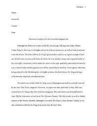 analysis essay on martin luther king jr letter from birmingham how to write papers about letter from birmingham jail essay questions