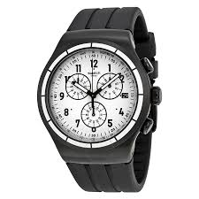 swatch watches jomashop swatch irony chronograph white dial black rubber men s watch