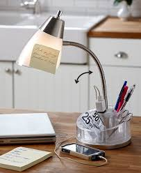 organizer desk lamp goose neck storage for office supplies for charging