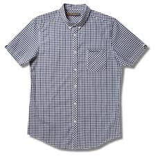 Ben Sherman Mod Skin Gingham Check Short Sleeve Shirt Navy Blue 4xl