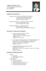 High School Student Resume High School Student Resume Format With No Work Experience Filipino 62
