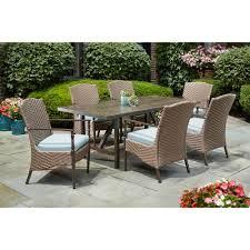 home decorators collection bolingbrook 7 piece wicker outdoor patio dining set with sunbrella spectrum mist