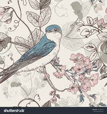 vintage bird iphone wallpaper. Interesting Vintage Seamless Floral Background With Bird The Wallpaper In Vintage Style And Vintage Bird Iphone Wallpaper