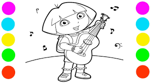 dora plays guitar coloring pages learn colors for kids coloring book for toddlers