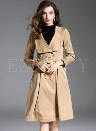 chic belt v neck long sleeve trench coat