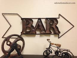 Industrial Wall Decor Lighted Marquee Rustic Metal Bar Sign Wall Decor Arrow Industrial