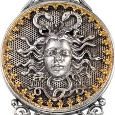 gerochristo 3551 solid gold silver pearl medusa large pendant