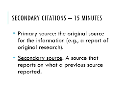 Credible Sources Secondary Citations Citation Formats Ppt Download