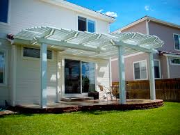 wood patio covers.  Wood A White Wooden Patio Cover On A Sunny Day With Wood Patio Covers