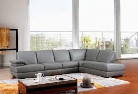 modern grey italian leather sectional sofa vg208