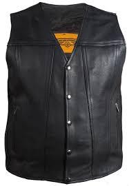 mens black leather concealed carry snap front vest