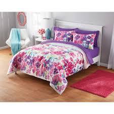 watercolor comforter set.  Set Your Zone Adelaine Watercolor Floral Mink Plush Comforter Set  Walmartcom Intended T
