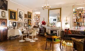 Very Parisian Studio Apartment Glazed Doors Marble Table Candles Simple Apartment Interior Design Painting