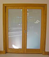 white oak glass double doors