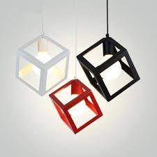 cube pendant light modern pendant lights art colorful cube pendant lamp iron cage lamp shade hanging cube pendant light