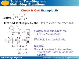 holt mcdougal algebra 1 solving two step and multi step equations solve