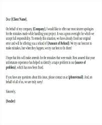 Formal Business Apology Letter To Client Sorry Company Template Word