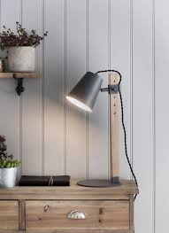 contempory lighting. Stockholm Table Light In Charcoal - Oak Contempory Lighting E