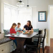 pendent lights over breakfast area? built-in bench seat in part of this  sunny kitchen remodel