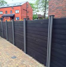 black composite fencing boards with grey composite