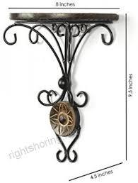decorasia wood wrought iron fancy brown wooden handicrafts wooden iron wall shelf in