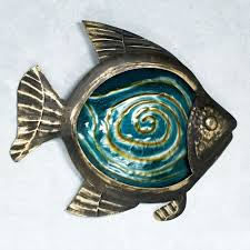 fish glass and metal wall art black gold on fish swirl metal wall art with sealife indoor outdoor glass metal wall art