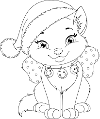 Christmas Cats Coloring Pages Gallery Coloring For Kids 2019