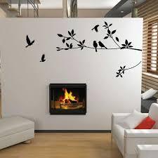 black birds tree branch wall art