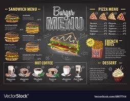 Food Menu Design Vintage Chalk Drawing Burger Menu Design Fast Food