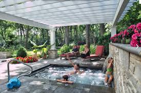 Fantastic small pool with roof overhead - hot tub idea
