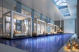 residential indoor lap pool. Some Luxury Daybed In Modern Indoor Pool Design Combined With Artistic Candle Also A Natural Green Plant The Corner Residential Lap