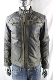men s vintage leather biker jacket in black rub off
