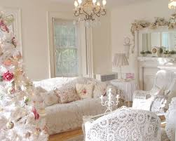 White Colors Crochet Sofa Cover And Floral Pattern Pillows